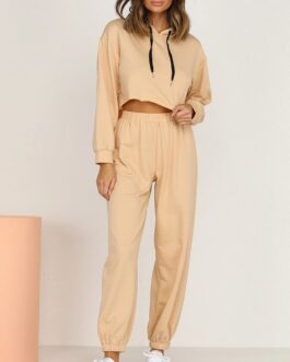 Cropped Hoodies With Elastic Waist Jogger Pants