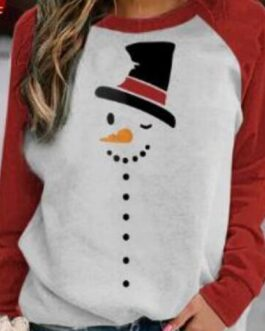 Cute Christmas Cartoon Print Raglan Sleeves O-neck T-shirt