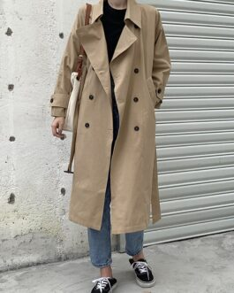 Double Breasted Elegant Office Coat With Belt