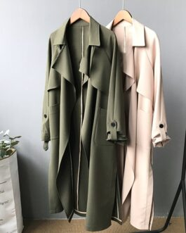 Elegant Solid Color Windbreaker Coat