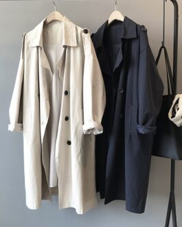 Elegant Solid Long Trench Turn Down Collar Office Coat