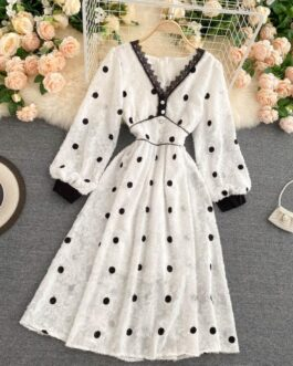 Elegant V Neck A Line Puff Sleeve Buttons Lace Dresses