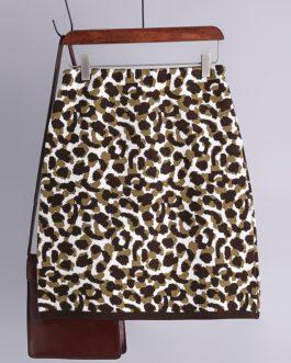 Fashion Retro Elastic High Waist Leopard Knitted Street Wear Short Skirt