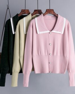 Fashion Turn-Down Collar Long Sleeve Pearl Button Outwear Sweater