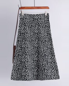 Fashion Vintage Elastic High Waist Leopard Knitted Street Wear Skirt