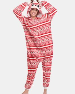 Flannel Christmas Reindeer Hooded Casual Onesies Homewear