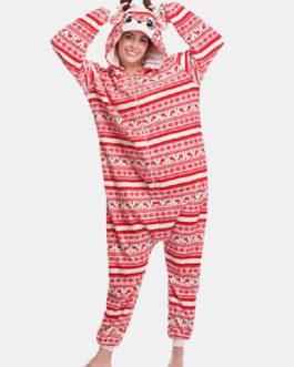 Flannel Christmas Reindeer Hooded Casual Onesies Homewear