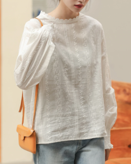Floral Embroidery Hollow Out Blouse