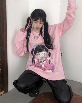 Harajuku style girl printing bottom loose t-shirt