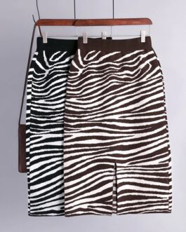 High Waist Zebra Pattern Bodycon Split Sweater Skirts