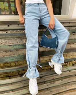 High Waisted Skinny Casual Pnats Pocket Straight Leg Jeans