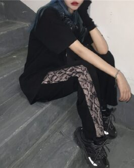 Hip-hop snake pattern stitching straight casual trousers