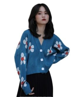 Korean style V-neck long-sleeved knitted retro sweater