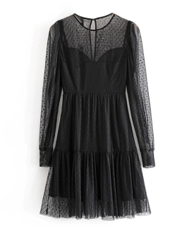 Lace Mesh Patchwork Mini Dress