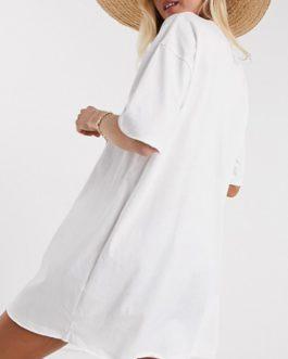 O Neck Oversize Mini Dress