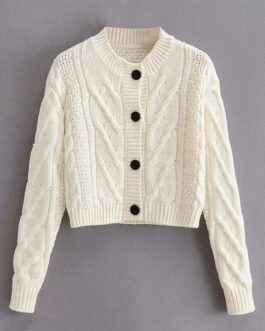 O Neck Twist Long Sleeve Knitted Cardigans