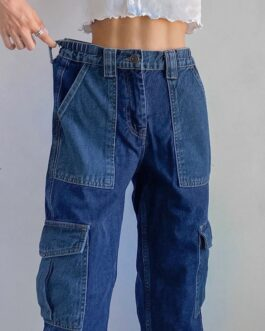 Patchwork Denim High Waist Cargo Long Baggy Jeans Vintage