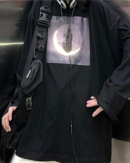 Reflective moon print bottom loose casual long-sleeved T-shirt