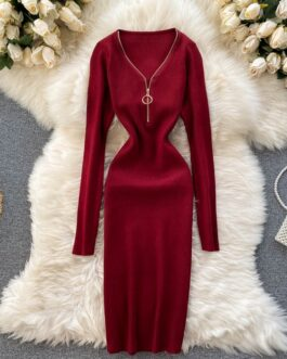 Retro Long Sleeve Solid Slim Elastic Pencil Dresses