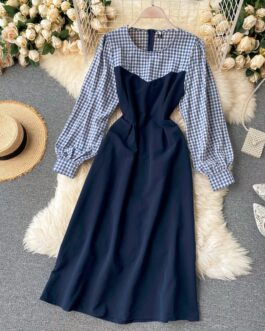 Retro Puff Sleeve O Neck A-line Street Wear Midi Long Dress