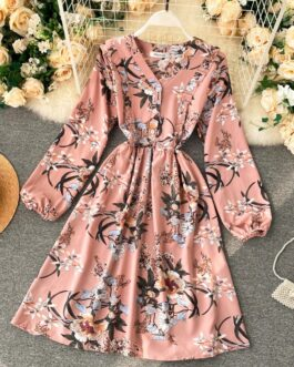 Sexy V Neck A Line Puff Sleeve Elegant Flowers Dress