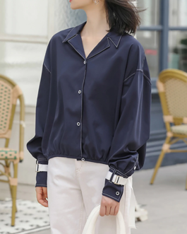 Solid Notched Collar Chic Blouse
