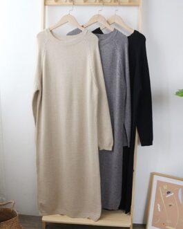 Solid O Neck Knitted Sweater Dress
