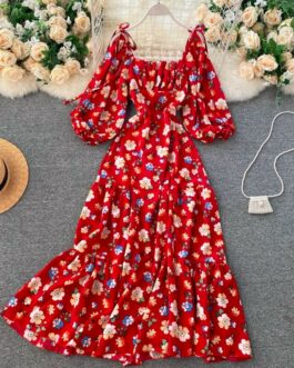 Square Collar Puff Sleeve A Line Printed Flowers Dress