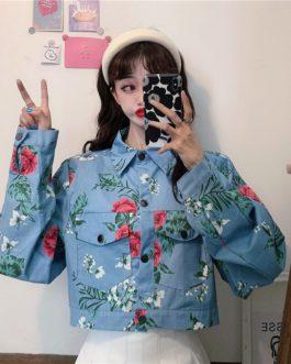 Style Korean retro rose print denim jacket