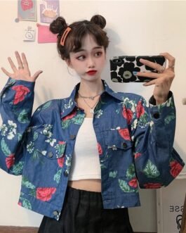 Style Korean retro rose print denim jacket
