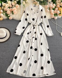 Turn Down Collar A Line Long Sleeve Elegant Print Dress
