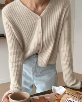 V Neck Knitted Tops Long Sleeve Casual Cardigans