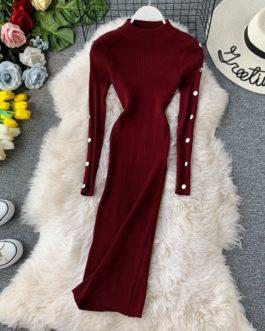 Vintage Button Slim Bodycon Knit Sweater Midi Pencil Dress Party