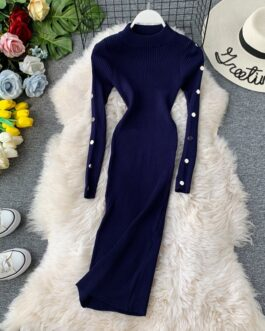 Vintage Button Slim Bodycon Knit Sweater Midi Pencil Dress Party