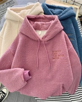 Warm hooded plus velvet sweatshirt