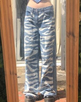 casual hip hop zerba print hippie denim baggy pants