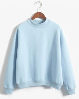 velvet o-neck solid color loose sweatshirt