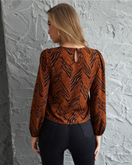 Allover Print Keyhole Back Lantern Sleeve Top
