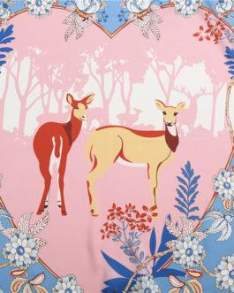 Animal Deer Print Floral Silk Square Scarves