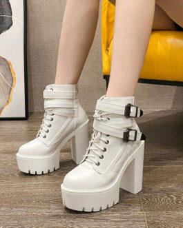 Ankle PU Leather Buckle Pointed Toe Chunky Heel Short Boot