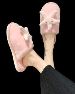 Artificial Short Plush Starfish Pattern Knitting Wool Upper Closed Toe Slippers