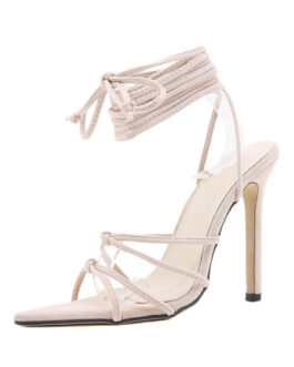 Bandage Stiletto Heel Peep Toe Micro Suede Upper Sandals