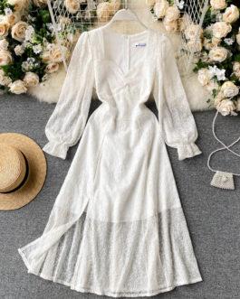 Bohemian Print Casual A-line O Neck Puff Sleeve Elastic Waist Split Dress