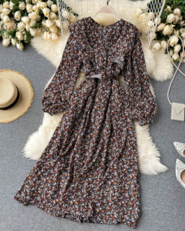 Boho Print Long Puff Sleeve V Neck Ruffles A-line Dress