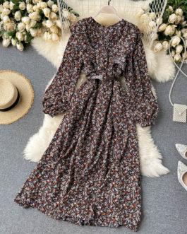 Boho Print Long Puff Sleeve V Neck Ruffles A-line Dress