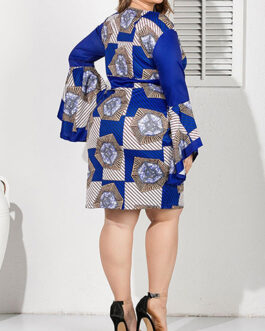 Bold Print Bell Sleeve Pencil Dress