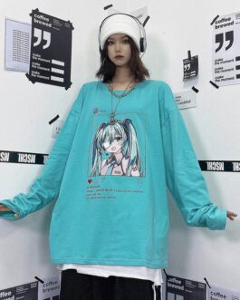 Casual Anime Print Bottoming Long Sleeve T-Shirt