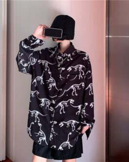 Casual Dinosaur Print Loose Long Sleeved Shirt