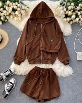 Casual Hooded Cardigan Outwear And Short Vest And High Waist Wide Leg Short Pants Set