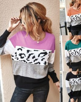 Casual Long Sleeve Leopard Stitching Sweater